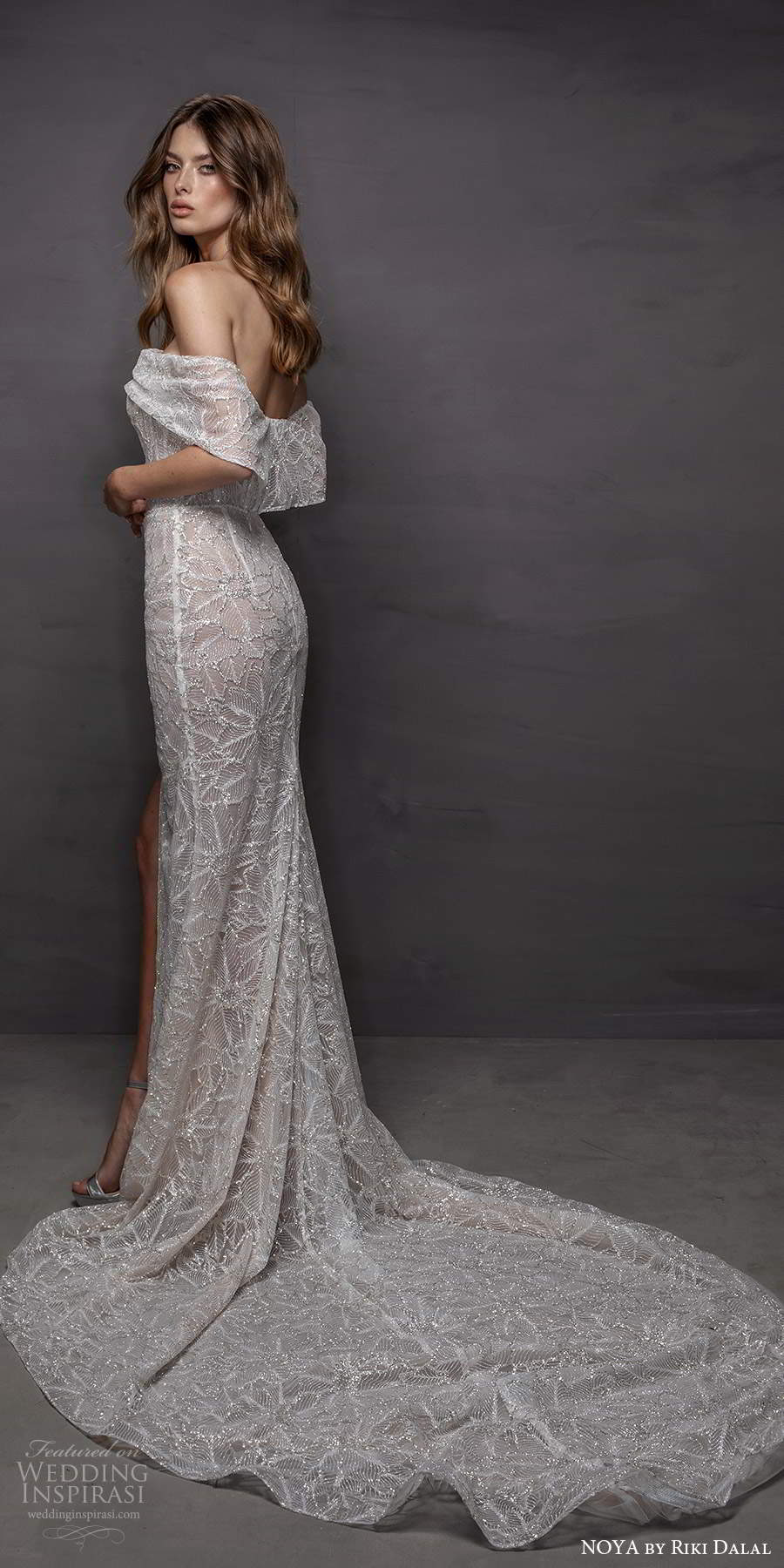 noya riki dalal 2021 bridal off shoulder sleeves asymmetric neckline fully embellished sheath wedding dress slit skirt (15) bv