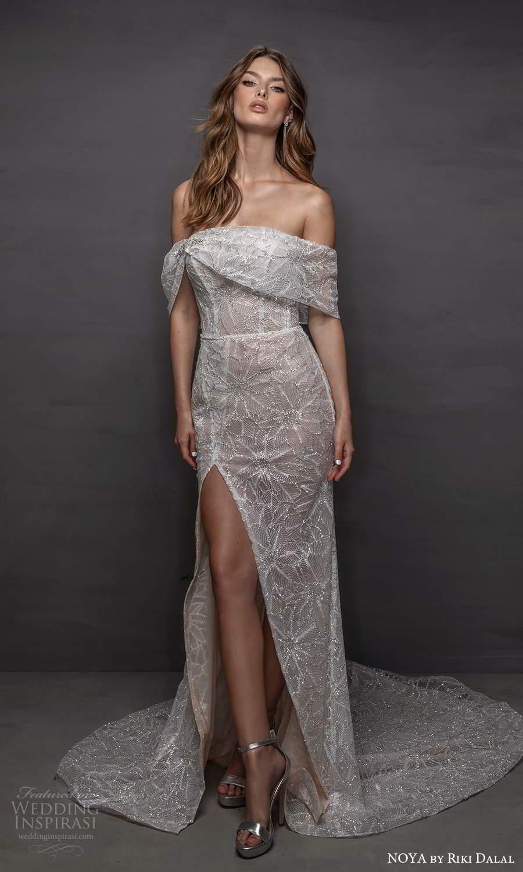 noya riki dalal 2021 bridal off shoulder sleeves asymmetric neckline fully embellished sheath wedding dress slit skirt (15) mv