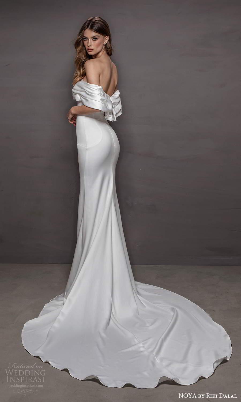 noya riki dalal 2021 bridal off shoulder sleeves straight across neckline clean minimalist sheath wedding dress chapel train (18) bv