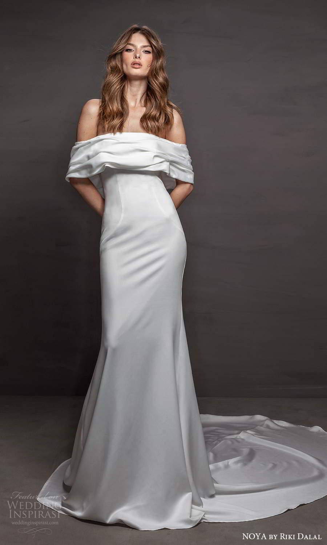 noya riki dalal 2021 bridal off shoulder sleeves straight across neckline clean minimalist sheath wedding dress chapel train (18) mv