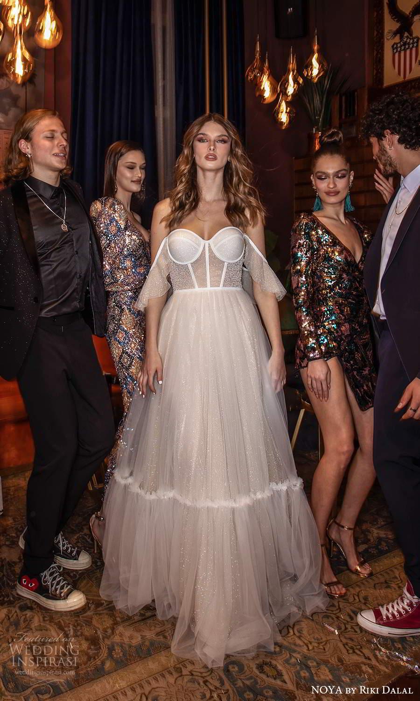 noya riki dalal 2021 bridal off shoulder sleeves swag straps sweetheart neckline corset bodice tulle a line ball gown wedding dress chapel train (11) fv