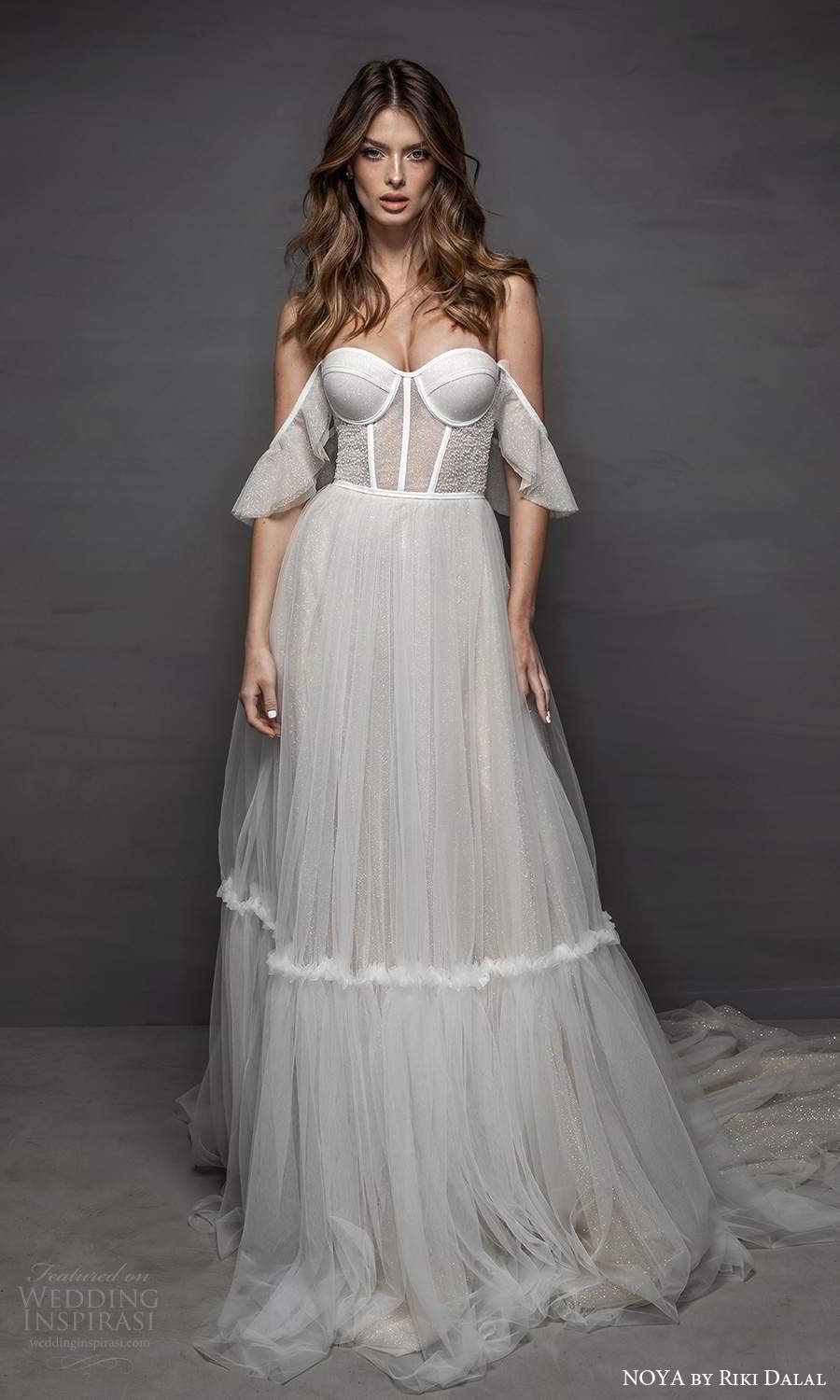 noya riki dalal 2021 bridal off shoulder sleeves swag straps sweetheart neckline corset bodice tulle a line ball gown wedding dress chapel train (11) mv