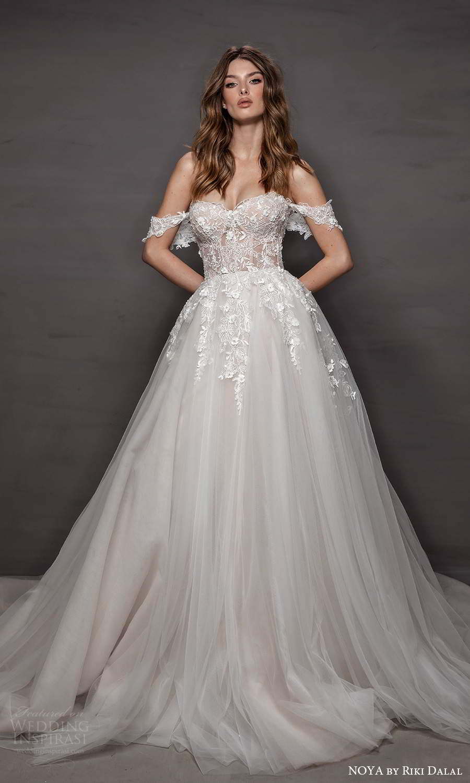 noya riki dalal 2021 bridal off shoulder straps sweetheart neckline embellished bodice a line ball gown wedding dress chapel train (5) mv