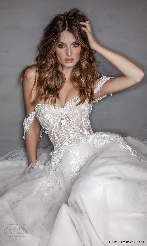 noya riki dalal 2021 bridal off shoulder straps sweetheart neckline embellished bodice a line ball gown wedding dress chapel train (5) zv