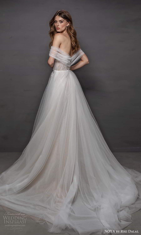 noya riki dalal 2021 bridal off shoulder straps sweetheart neckline embellished bodice a line ball gown wedding dress chapel train (6) bv