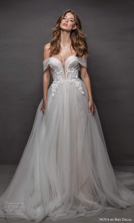 noya riki dalal 2021 bridal off shoulder straps sweetheart neckline embellished bodice a line ball gown wedding dress chapel train (6) mv