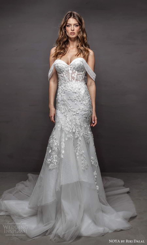 noya riki dalal 2021 bridal off shoulder straps sweetheart neckline embellished bodice fit flare mermaid wedding dress chapel train (21) mv