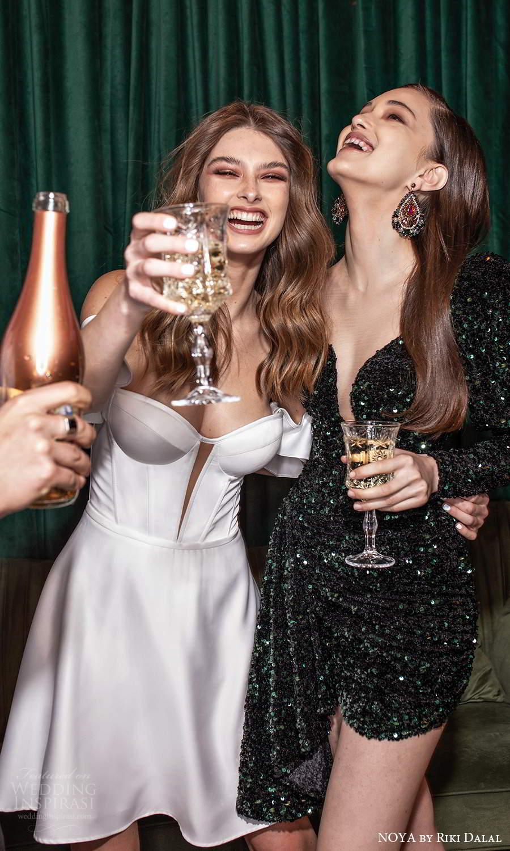 noya riki dalal 2021 bridal off shoulder swag straps sweetheart neckline clean mininalist short wedding dress (28) mv
