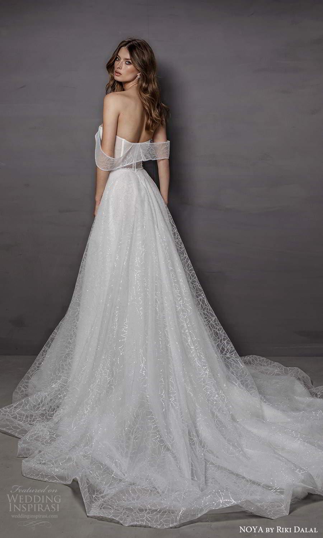 noya riki dalal 2021 bridal off shoulder swag straps sweetheart neckline fully embellished a line ball gown wedding dress chapel train (17) bv