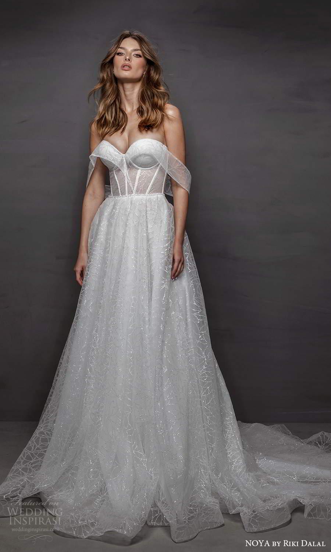 noya riki dalal 2021 bridal off shoulder swag straps sweetheart neckline fully embellished a line ball gown wedding dress chapel train (17) mv