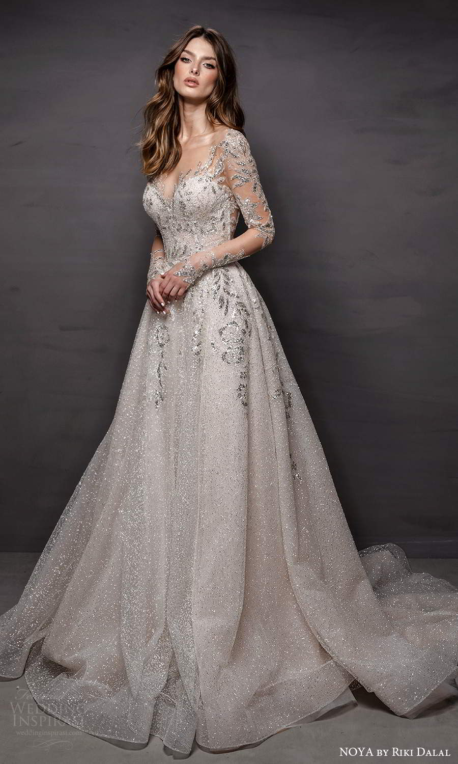 noya riki dalal 2021 bridal sheer long sleeves sweetheart neckline fully embellished a line ball gown wedding dress chapel train (1) mv