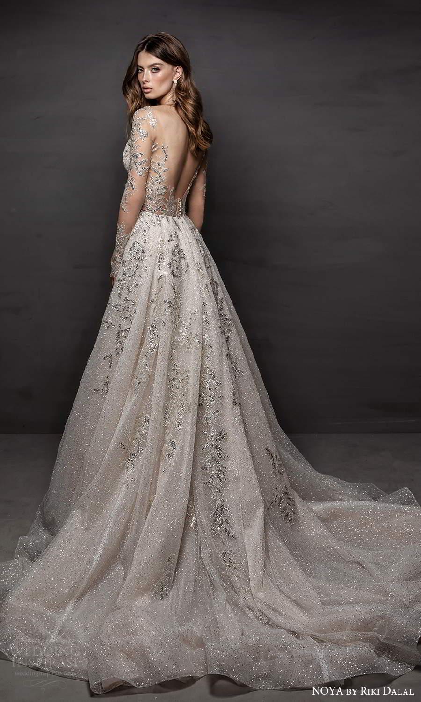 noya riki dalal 2021 bridal sheer long sleeves sweetheart neckline fully embellished a line ball gown wedding dress chapel train scoop back (1) bv