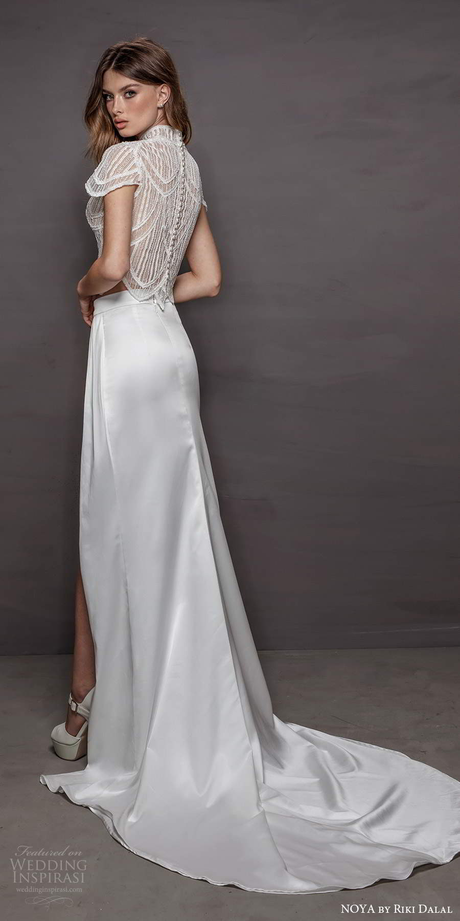 noya riki dalal 2021 bridal short sleeve high neckline embellished top slit skirt 2 piece sheath wedding dress (16) bv