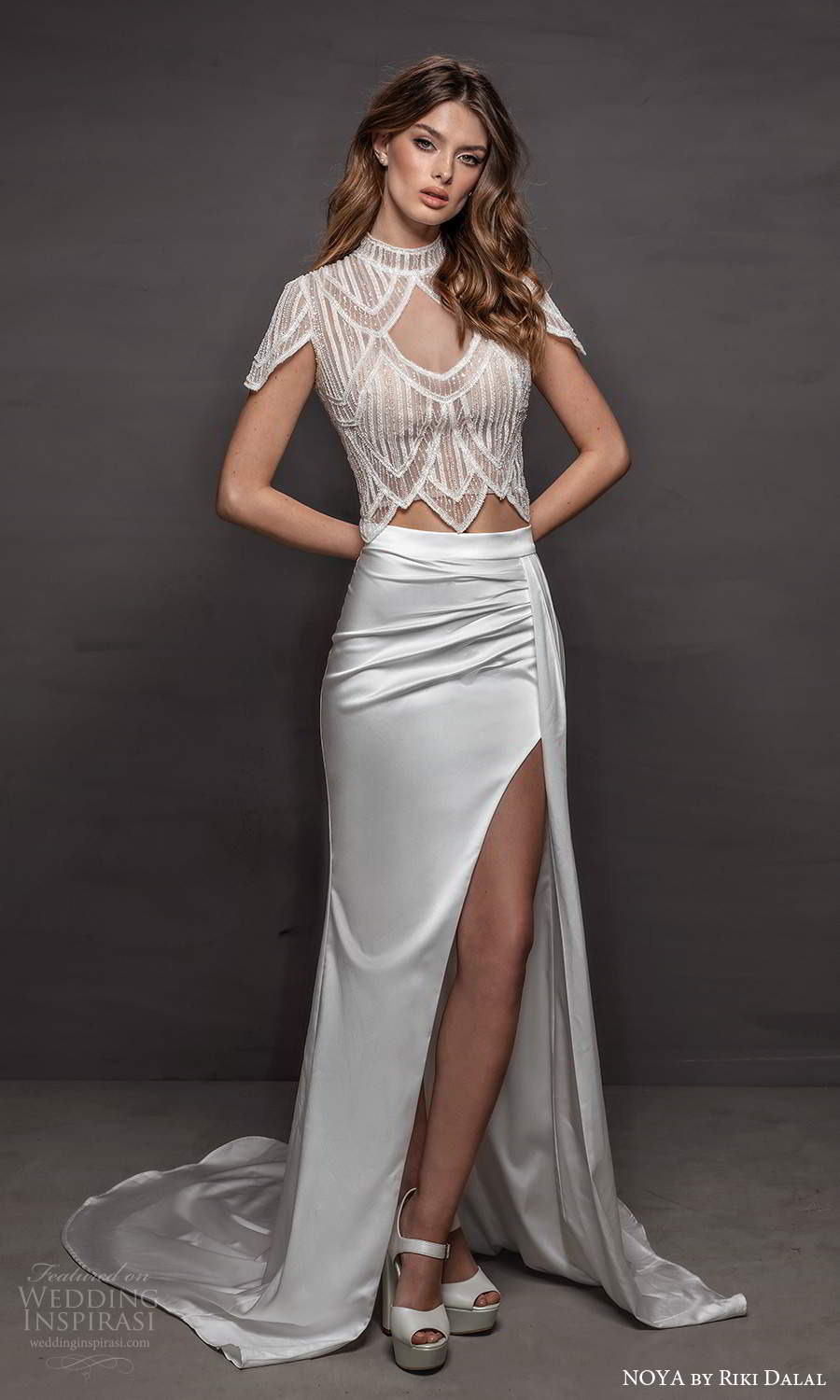 noya riki dalal 2021 bridal short sleeve high neckline embellished top slit skirt 2 piece sheath wedding dress (16) mv