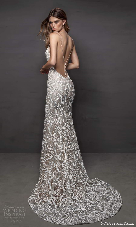 noya riki dalal 2021 bridal sleeveless beaded straps plunging v neckline fully embellished sheath wedding dress chapel train sheer back (7) bv