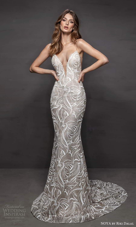 noya riki dalal 2021 bridal sleeveless beaded straps plunging v neckline fully embellished sheath wedding dress chapel train sheer back (7) mv