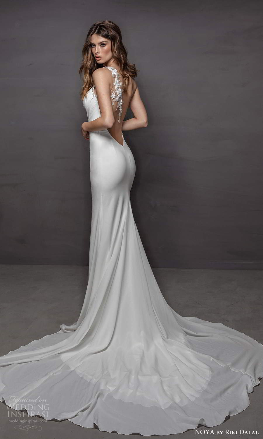 noya riki dalal 2021 bridal sleeveless one shoulder strap asymmetric neckline clean minimalist sheath wedding dress slit skirt chapel train (12) bv