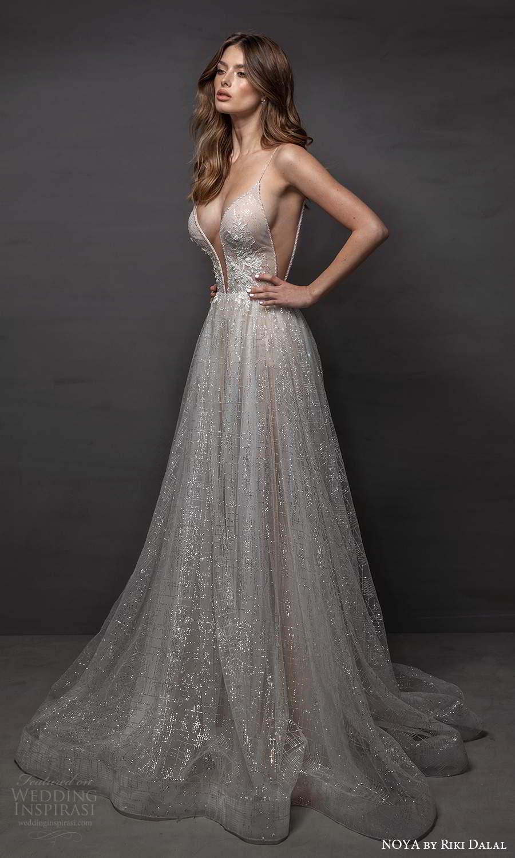 noya riki dalal 2021 bridal sleeveless straps plunging v neckline fully embellished a line ball gown wedding dress chapel train (9) mv