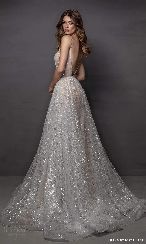 noya riki dalal 2021 bridal sleeveless straps plunging v neckline fully embellished a line ball gown wedding dress chapel train v back (9) bv