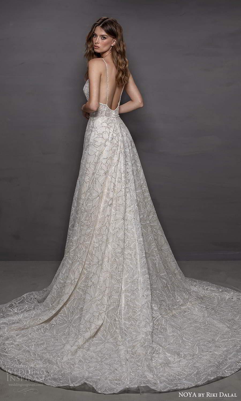 noya riki dalal 2021 bridal sleeveless straps scoop neckline fully embellished a line ball gown wedding dress chapel train (14) bv