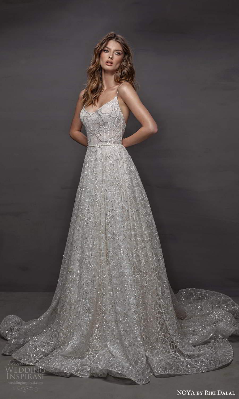 noya riki dalal 2021 bridal sleeveless straps scoop neckline fully embellished a line ball gown wedding dress chapel train (14) mv