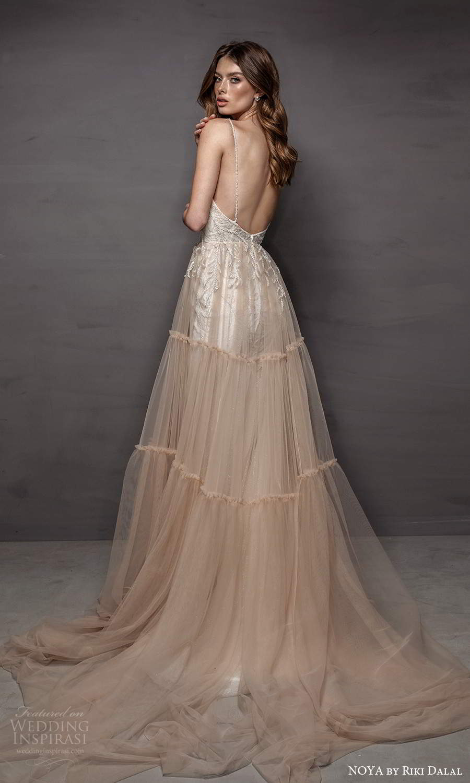 noya riki dalal 2021 bridal sleeveless straps sweetheart neckline embellished bodice a line ball gown wedding dress ombre chapel train (22) bv