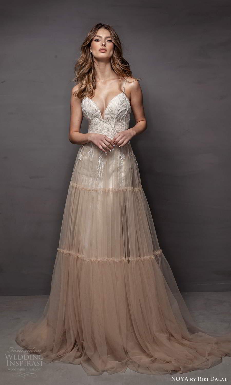 noya riki dalal 2021 bridal sleeveless straps sweetheart neckline embellished bodice a line ball gown wedding dress ombre chapel train (22) mv
