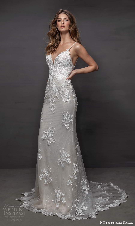noya riki dalal 2021 bridal sleeveless straps sweetheart neckline fully embellished lace sheath wedding dress chapel train (13) mv