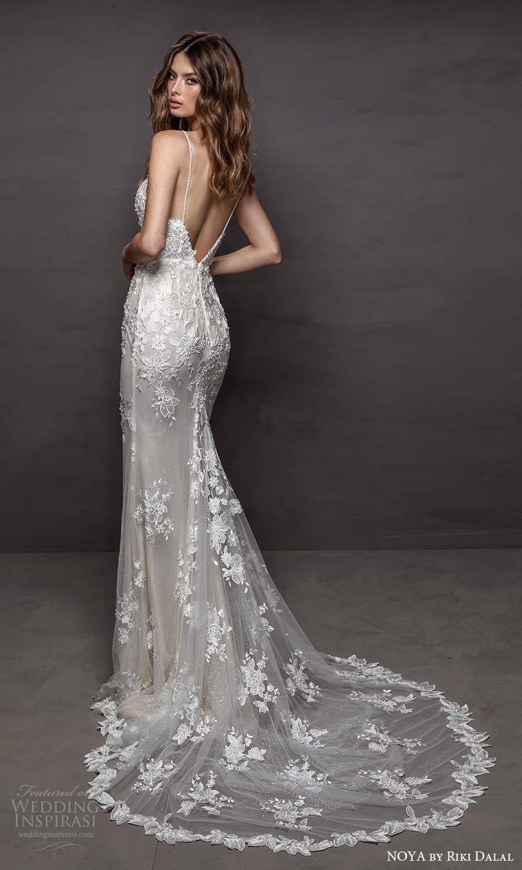 noya riki dalal 2021 bridal sleeveless straps sweetheart neckline fully embellished lace sheath wedding dress chapel train low back (13) mv