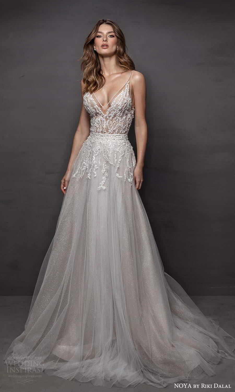 noya riki dalal 2021 bridal sleeveless straps v neckline embellished bodice a line wedding dress chapel train (10) mv