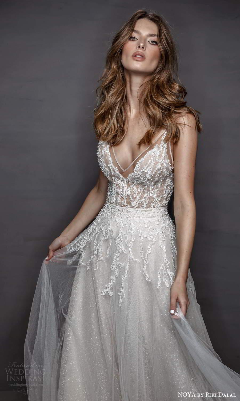 noya riki dalal 2021 bridal sleeveless straps v neckline embellished bodice a line wedding dress chapel train (10) zv