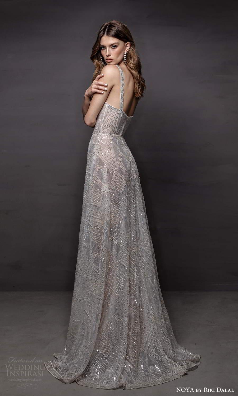 noya riki dalal 2021 bridal sleeveless thick straps sweetheart neckline fully embellished a line wedding dress chapel train (2) bv