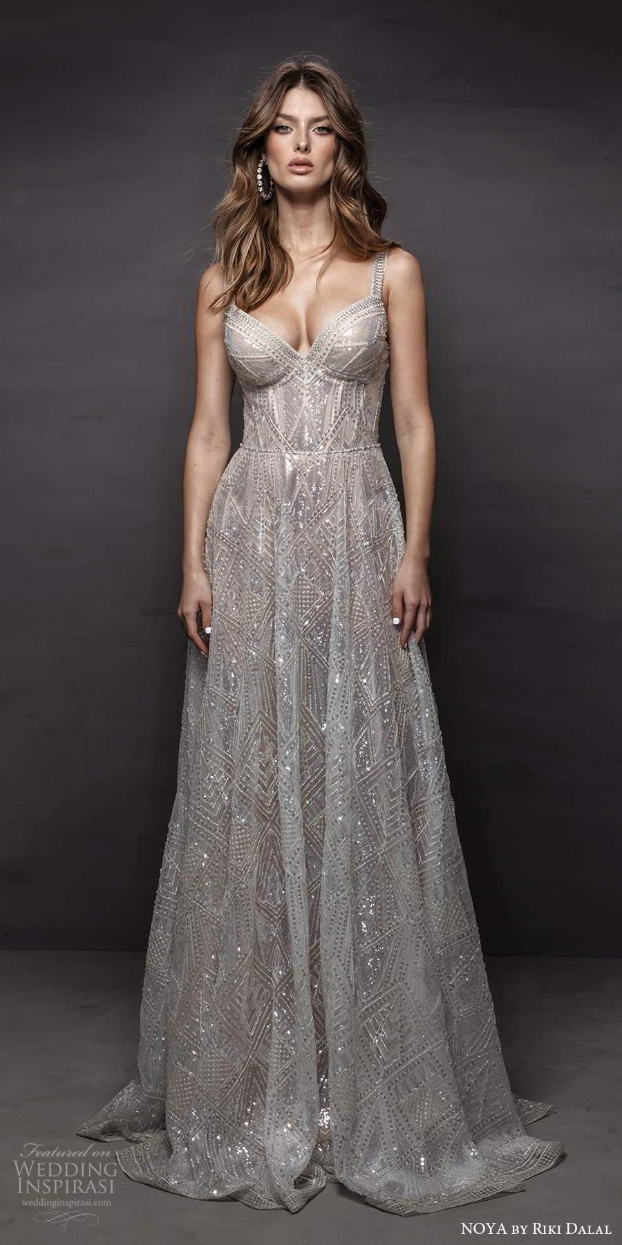 noya riki dalal 2021 bridal sleeveless thick straps sweetheart neckline fully embellished a line wedding dress chapel train (2) mv