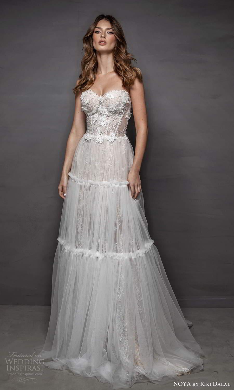 noya riki dalal 2021 bridal strapless sweetheart neckline embellished corset bodice a line wedding dress (20) mv