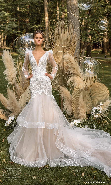 victoria soprano 2022 bridal detachable sheer long sleeves sleeveless straps plunging v neckline embellished bodice fit flare mermaid wedding dress chapel train blush (6) mv