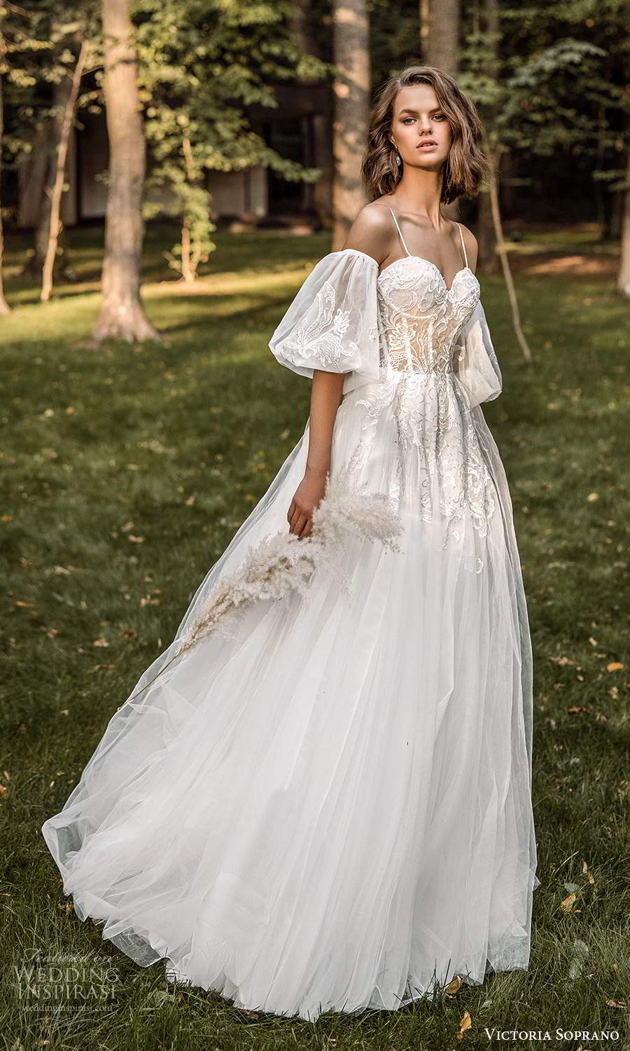 victoria soprano 2022 bridal detached puff sleeves sleeveless straps sweetheart neckline embellished bodice a line ball gown wedding dress chapel train (18) mv