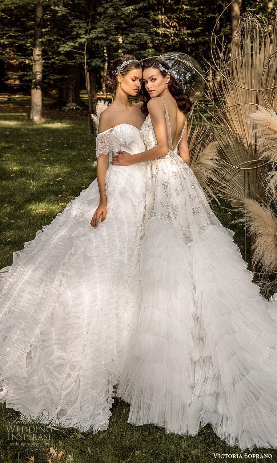 victoria soprano 2022 bridal off shoulder sleeves sweetheart neckline ruffle skirt a line ball gown wedding dress chapel train (8) sv