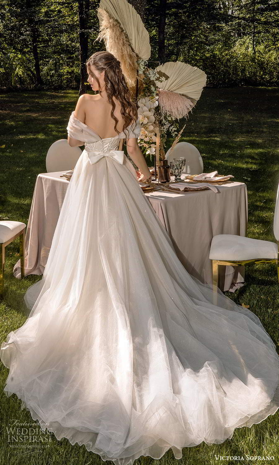 victoria soprano 2022 bridal off shoulder sweetheart neckline embellished bodice a line ball gown wedding dress chapel train blush (14) bv