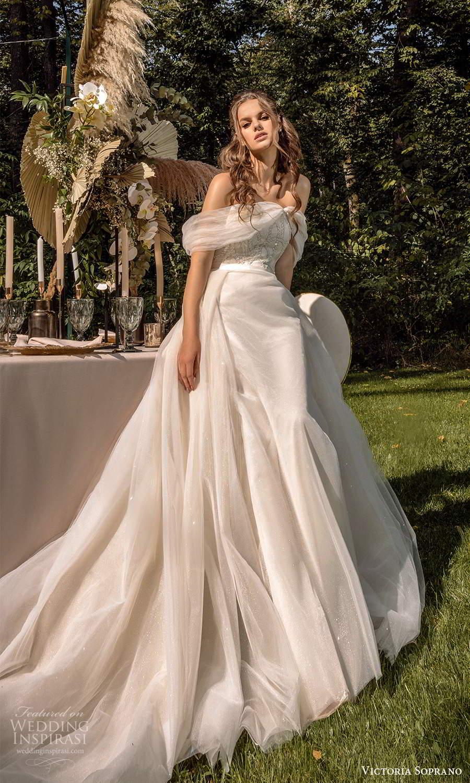 victoria soprano 2022 bridal off shoulder sweetheart neckline embellished bodice a line ball gown wedding dress chapel train blush (14) mv