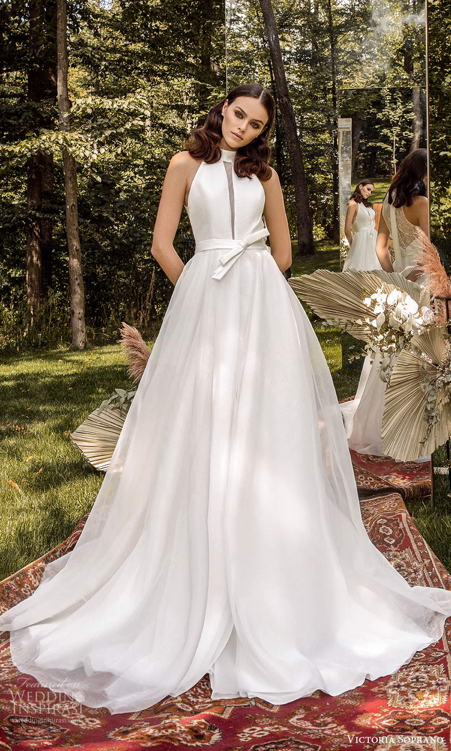 victoria soprano 2022 bridal sleeveless halter neckline clean minimalist a line ball gown wedding dress chapel train (15) mv