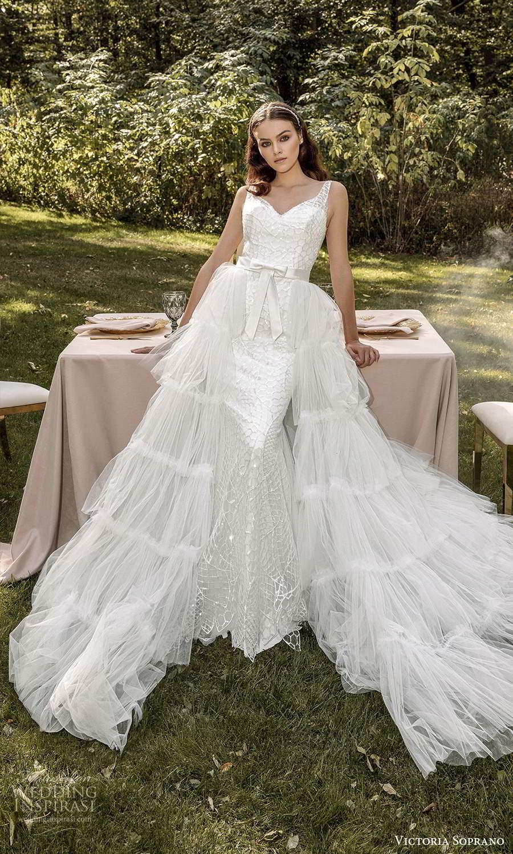 victoria soprano 2022 bridal sleeveless straps sweetheart neckline embellished sheath wedding dress ruffle a line overskirt (21) mv