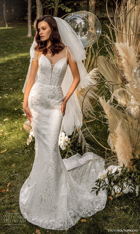 victoria soprano 2022 bridal sleeveless straps sweetheart neckline fully embellished sheath wedding dress chapel train (16) mv