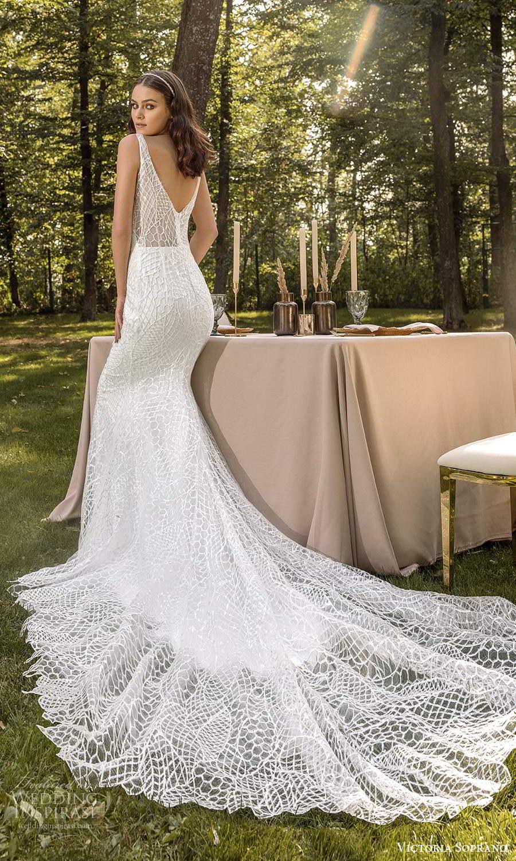 victoria soprano 2022 bridal sleeveless straps v neckline fully embellished sheath wedding dress chapel train v back (13) bv