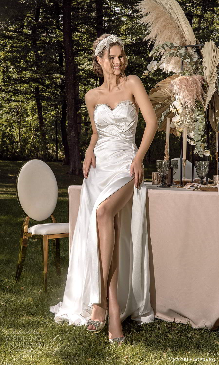 victoria soprano 2022 bridal strapless sweetheart neckline ruched bodice modern a line wedding dress slit skirt (22) fv