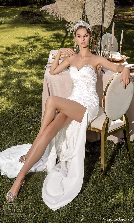 victoria soprano 2022 bridal strapless sweetheart neckline ruched bodice modern a line wedding dress slit skirt (22) mv