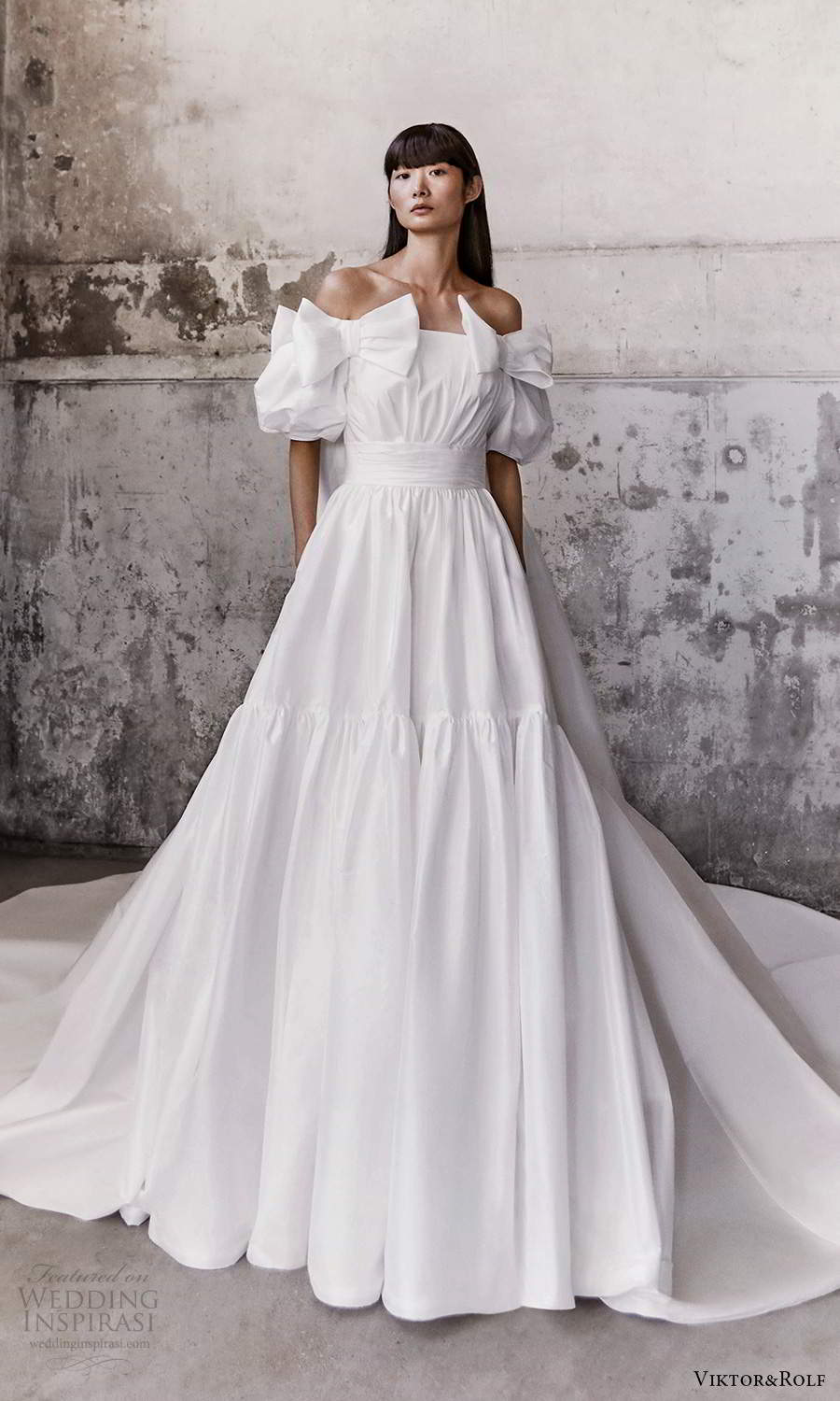 viktor and rolf fall 2021 bridal elbow length puff sleves staight across off shoulder neckline clean modern a line ball gown wedding dress cathedral train (4) mv