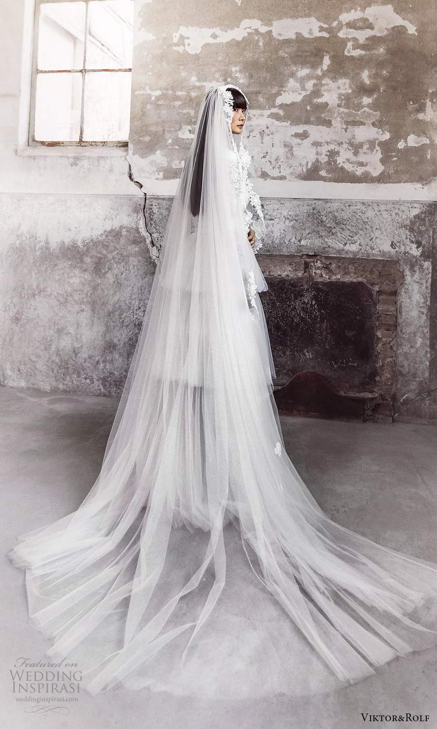 viktor and rolf fall 2021 bridal long sleeves high neckline embellished lace a line wedding dress tiered skirt (6) bv