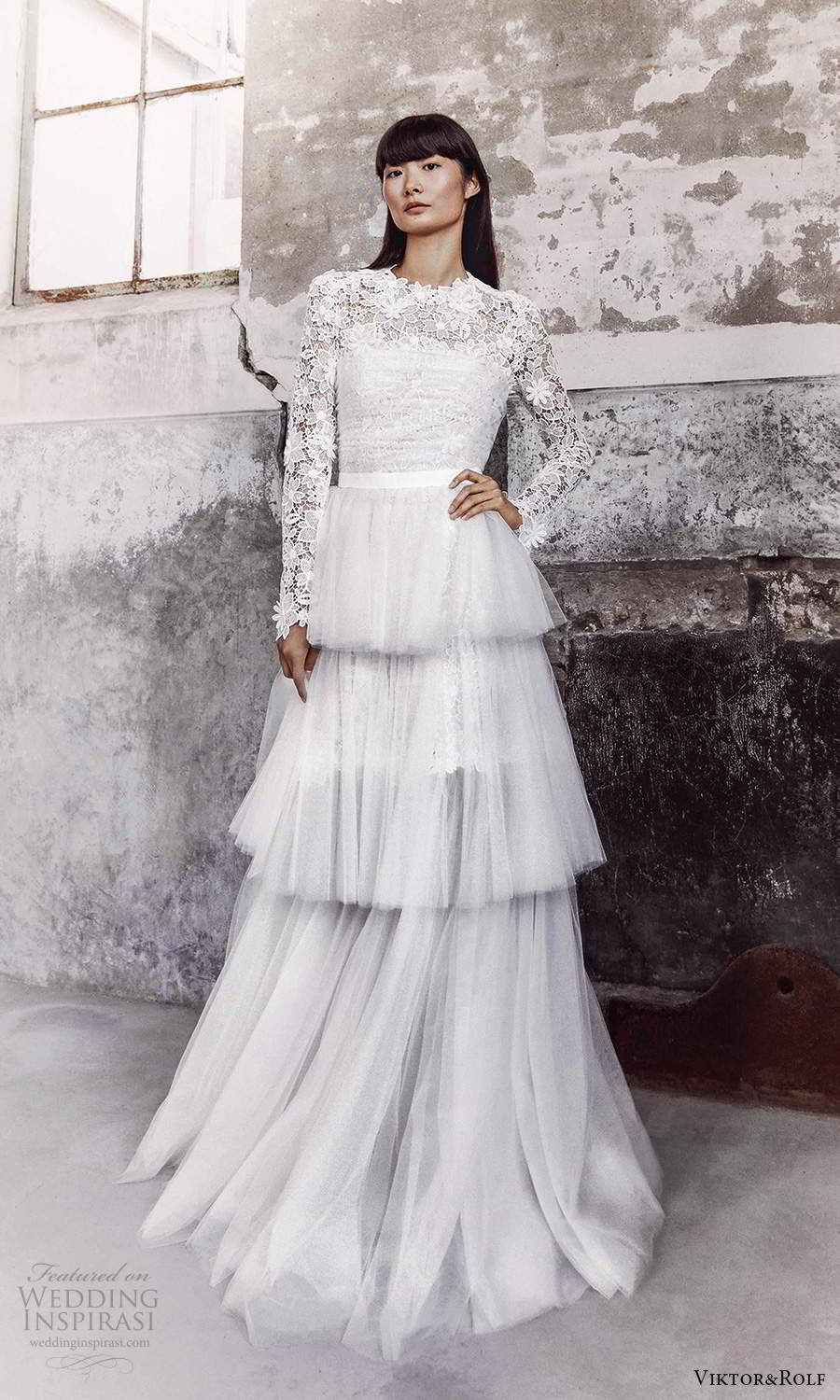 viktor and rolf fall 2021 bridal long sleeves high neckline embellished lace a line wedding dress tiered skirt (6) mv