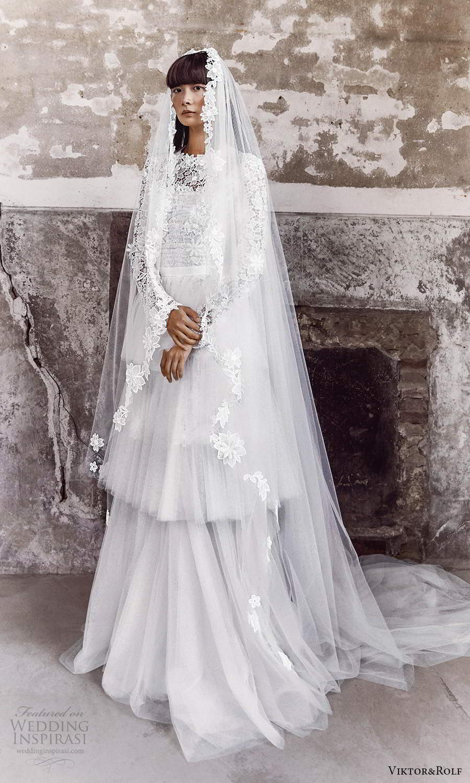 viktor and rolf fall 2021 bridal long sleeves high neckline embellished lace a line wedding dress tiered skirt veil (6) mv