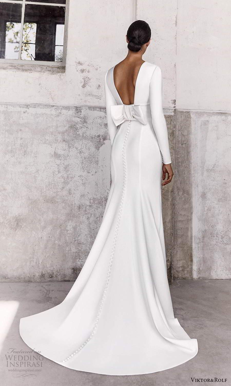 viktor and rolf fall 2021 bridal long sleeves v neckline clean minimalist sheath wedding dress sweep train (3) bv
